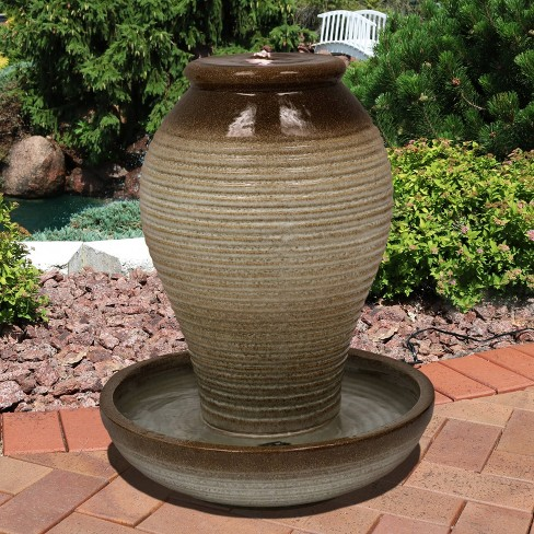 26 Ceramic Pottery Vase Outdoor Water Fountain With Led Lights Sunnydaze Decor Target