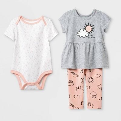 Baby Girls' Bodysuit, Tunic and Leggings Set - Cat & Jack™ Gray/Peach/White/ 3-6M