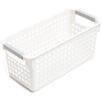 "4-Pack Plastic Nesting Storage Baskets for Kitchen Bathroom Laundry Shelves, 11.5"" x 5.25"" x 5"", White"