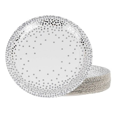 """Juvale 48-Pack Disposable Metallic Silver Foil Polka Dot Paper Plates 9"""" Birthday Party Supplies"""