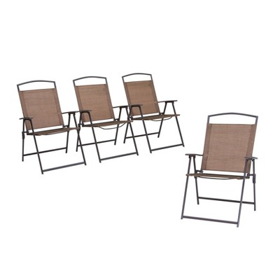 4pc Patio Folding Chairs - Brown - Crestlive Products