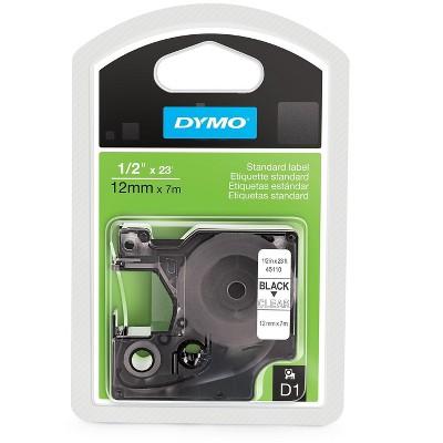 """DYMO D1 Standard 45110 Label Maker Tape 0.5""""W Black On Clear 474225"""