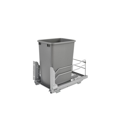 Rev-A-Shelf 53WC-1535SCDM-117 Single 35-Quart Kitchen Base Cabinet Pull Out Waste Container Trash Can with Soft-Close Slides, Gray