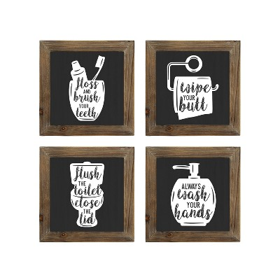 Stratton Home Decor Floss, Flush, Wipe, Wash Set of 4 Cute Rustic Farmhouse Decoration Sign Decorative Bathroom Wall Art, Black and White