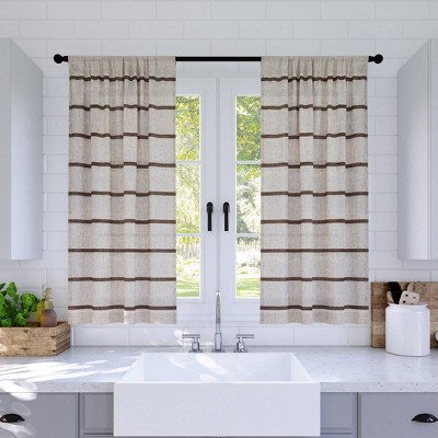 Set of 2 Twill Striped Anti Dust Sheer Cafe Curtain - Clean Window