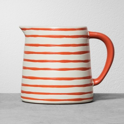 Stoneware Pitcher - Coral Stripe - Hearth & Hand™ with Magnolia