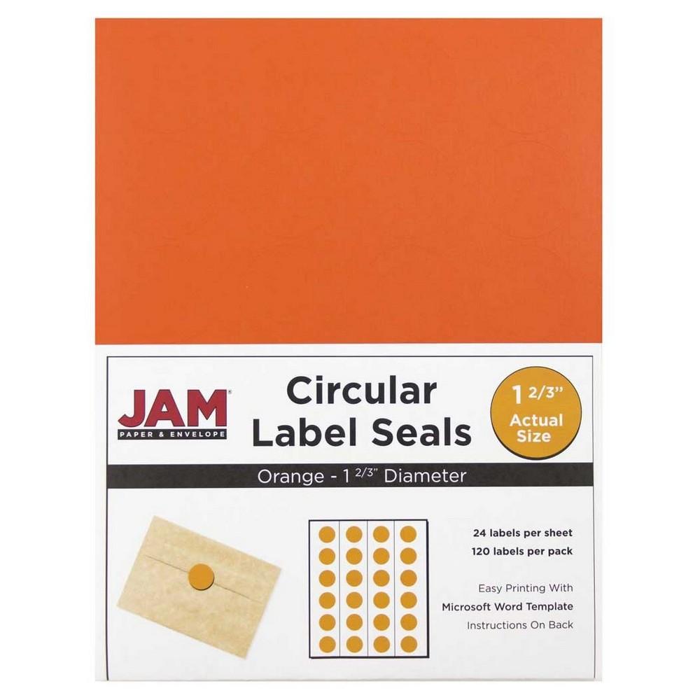 JAM Circle Sticker Seals 1 2/3 120ct - Orange