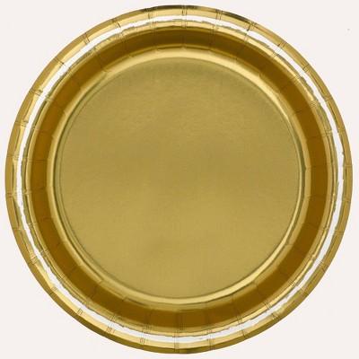 "8.5"" 20ct Disposable Dinner Plates Gold - Spritz™"