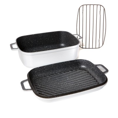 Curtis Stone Dura-Pan Nonstick 8.5 qt. Roaster with 3.5 qt. Grill Lid 628-188 Refurbished