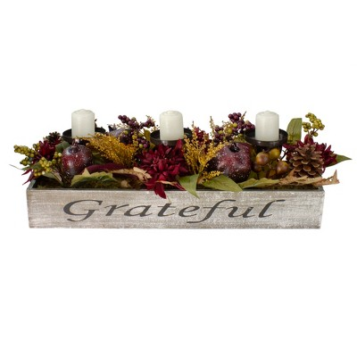 """Northlight 24"""" Autumn Harvest Pomegranate 3-Piece Candle Holder in a """"Grateful"""" Rustic Wooden Box Centerpiece"""