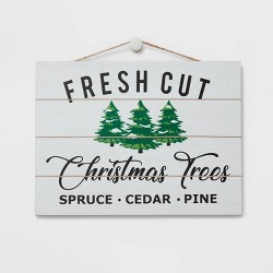 Fresh Cut Christmas Trees Decorative Sign White and Navy - Wondershop™