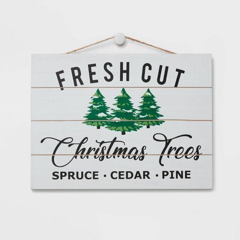 Fresh Cut Christmas Trees Decorative Sign White and Navy - Wondershop™ - image 1 of 2