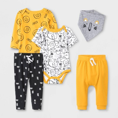 Baby Boys' 5pc Animal Print Top and Bottom Set - Cat & Jack™ 6-9M