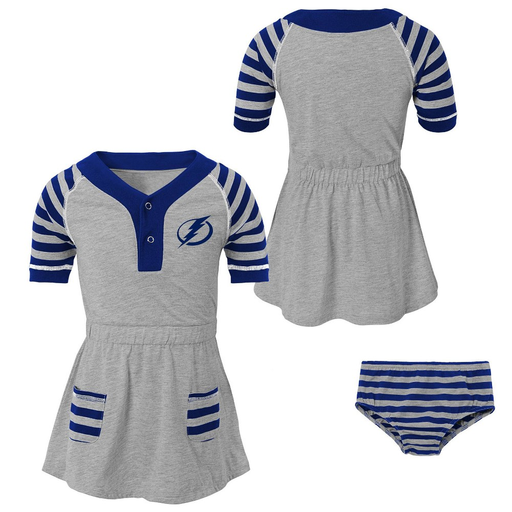 Tampa Bay Lightning Girls' Infant/Toddler Striped Gray Dress - 12M, Multicolored