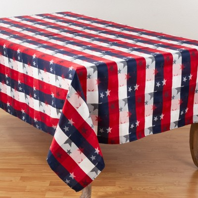 Saro Lifestyle Cotton Blend Tablecloth With Checkered And Stars Design