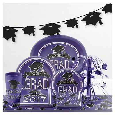 Graduation School Spirit Purple Party Supplies Collection