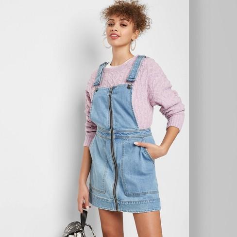 Women's Zip Front Square Neck Denim Pinafore Mini Dress - Wild Fable™ Medium Wash - image 1 of 3