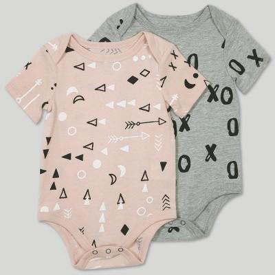 Afton Street Baby Girls' 2pc Bodysuit Set - Pink/Gray 0-3M