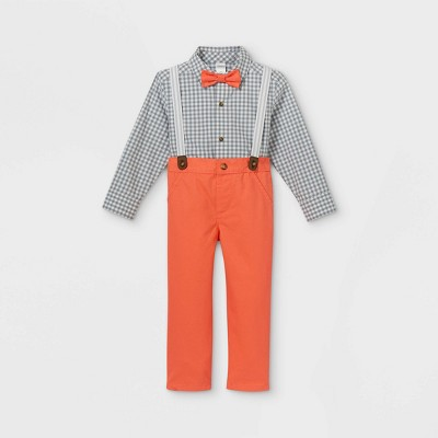 Toddler Boys' 3pc Dressy Plaid Top & Bottom Set with Bow Tie - Just One You® made by carter's Orange/Gray