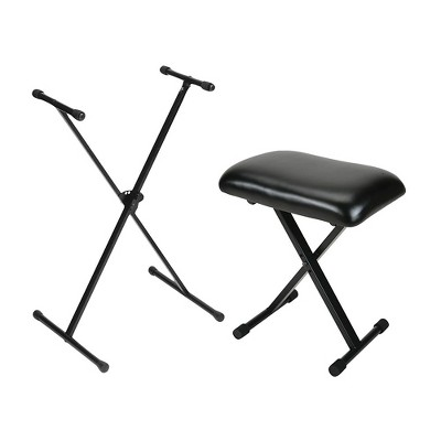 On-Stage Padded Keyboard Bench With Single-Braced Stand Combo