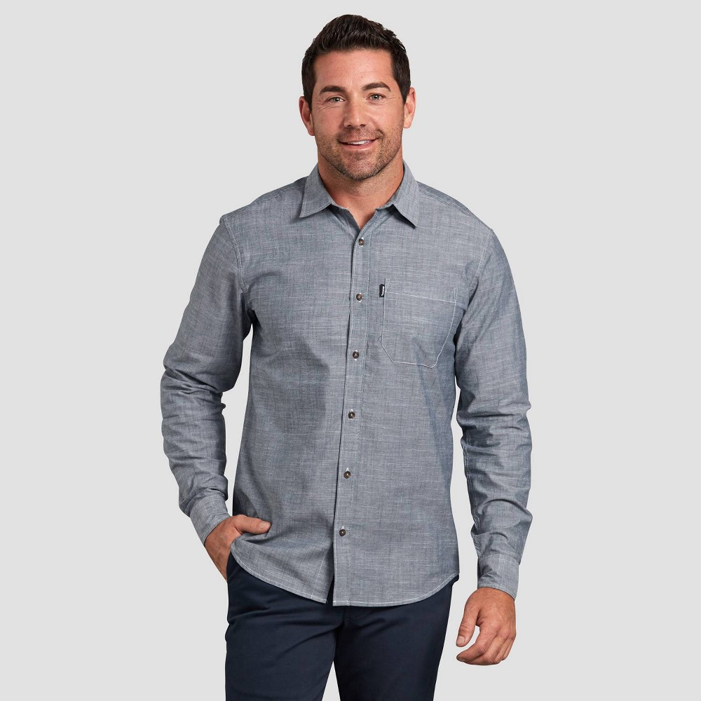 Dickies Men's Long Sleeve Button-Down Shirt - Dark Blue L