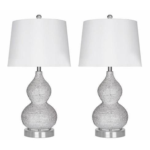 Set Of 2 Vida Beaded Table Lamp Silver Abbyson Living