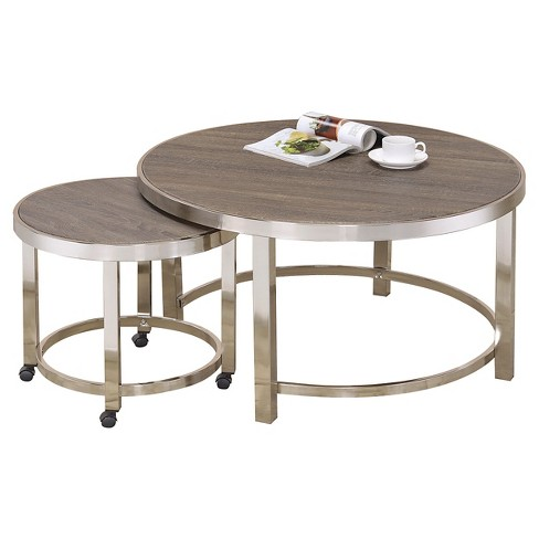 Nesting Coffee Tables Walnut Acme Furniture Target