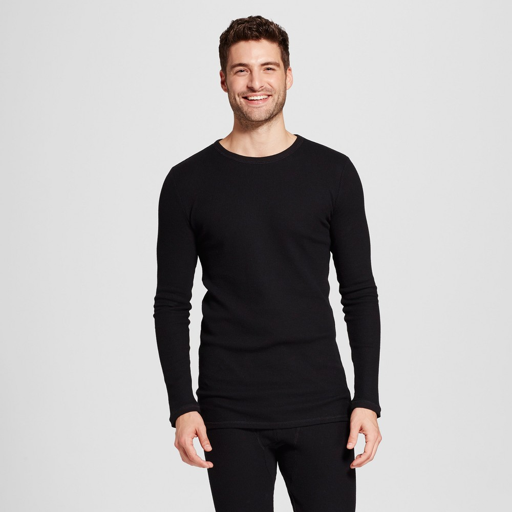Men's Long Sleeve Micro Thermal Shirt - Goodfellow & Co Black L