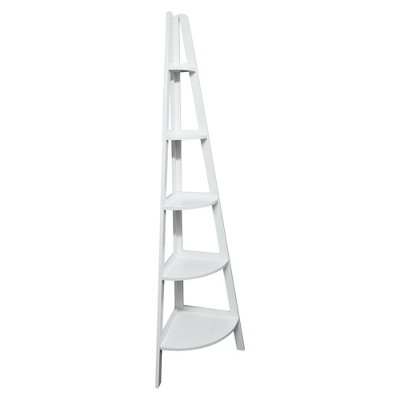 5 Shelf Corner Ladder Bookcase White - Flora Home