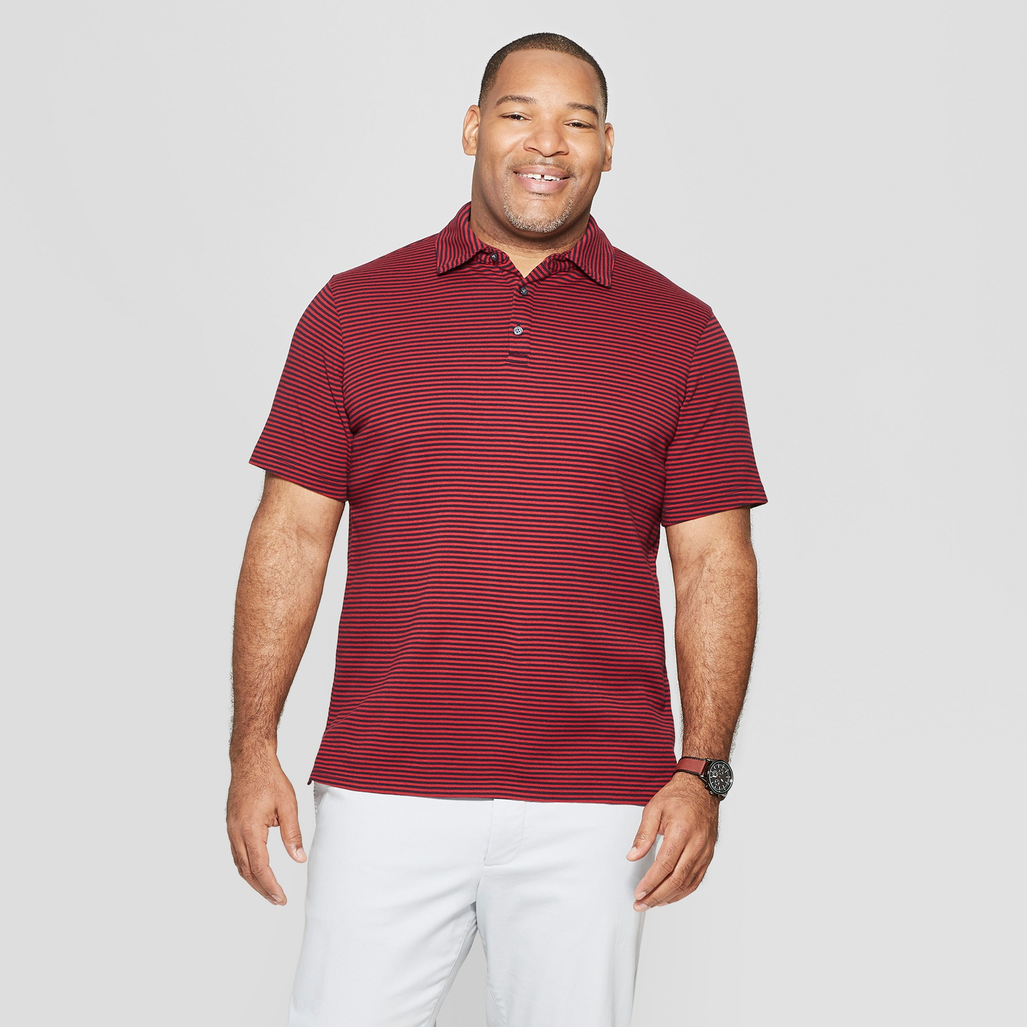 Men's Big & Tall Striped Standard Fit Short Sleeve Elevated Ultra-Soft Polo Shirt - Goodfellow & Co Majesty Red 5XBT