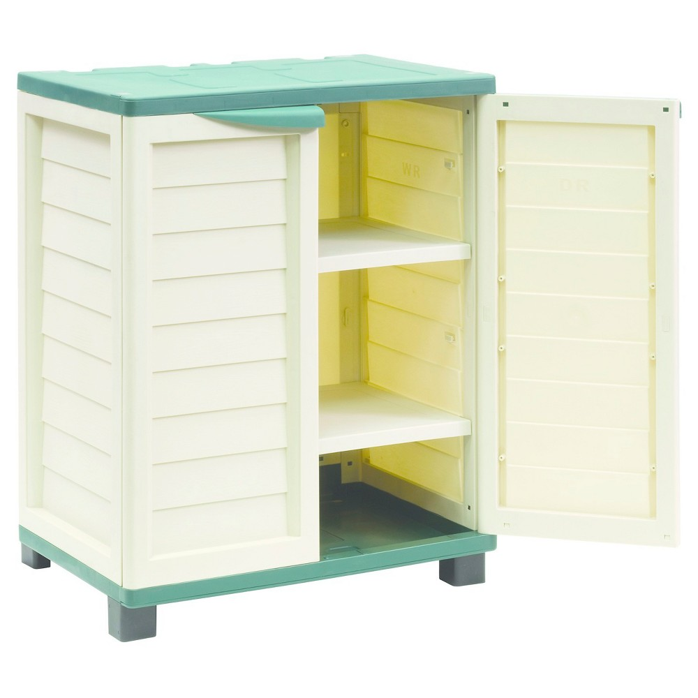 "Image of ""36"""" Cabinet With 2 Shelves - Beige/Green - Starplast"""