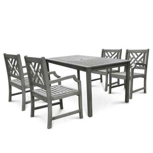Renaissance 5pc Rectangle Wood Patio Dining Set - Gray - Vifah - image 1 of 7