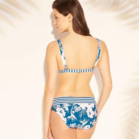 d6790e2faa Women s Banded Triangle Bikini Top - Sunn Lab Swim Blue Floral L   Target