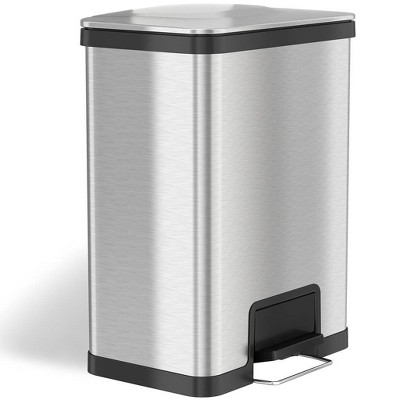 halo quality 13gal AirStep Feather Light Stainless Steel Step Trash Can