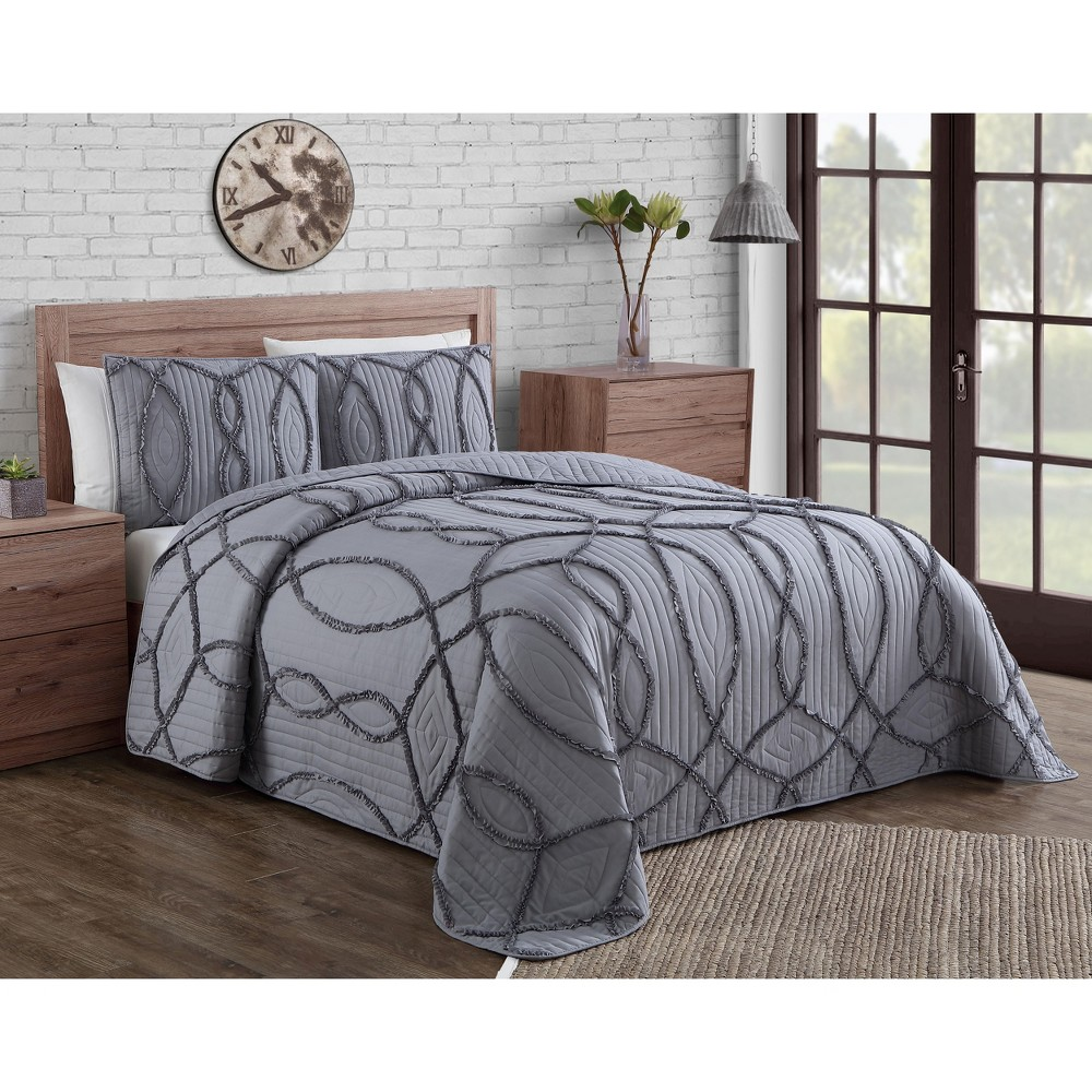Image of 3pc King Sonora Quilt Set Gray - Geneva Home Fashion