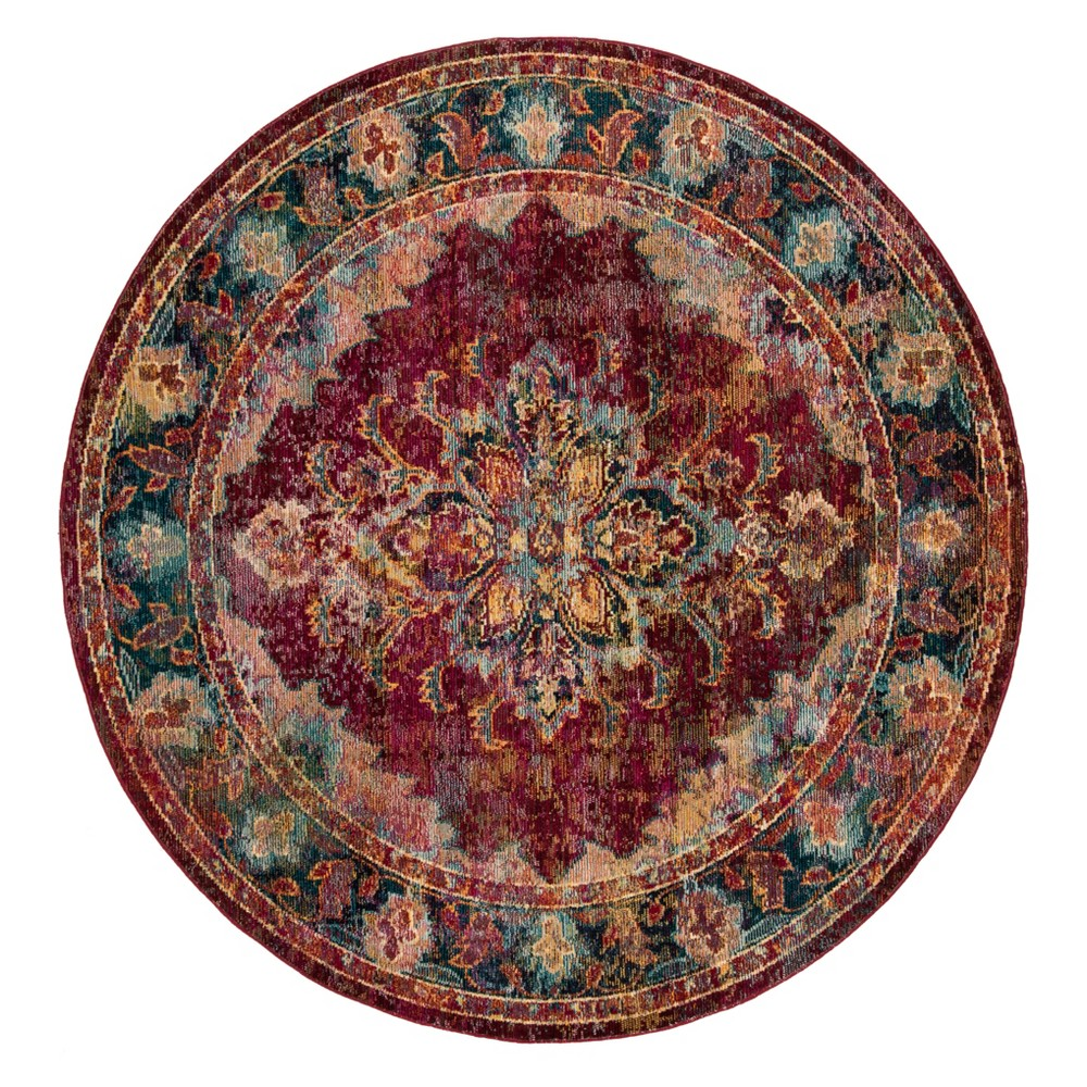 7' Medallion Loomed Round Area Rug Ruby/Navy (Red/Blue) - Safavieh
