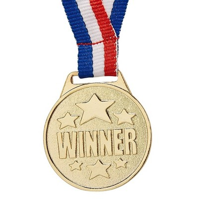 "24-Pack Olympic Style Gold Winner Award Medals with 1.5"" Diameter, 15.3"" Ribbon"