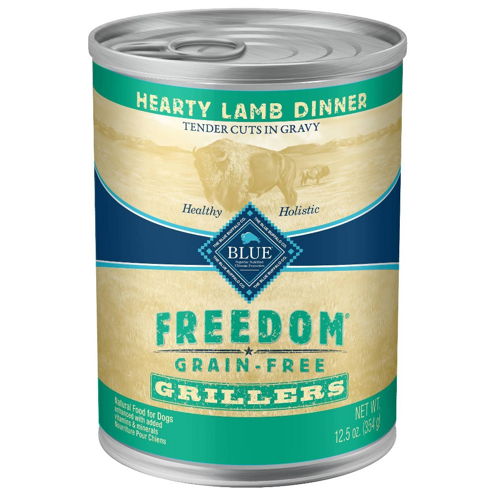 Blue Buffalo Freedom Grain Free Grillers Wet Dog Food Hearty Lamb Dinner 12 5oz 12ct Pack