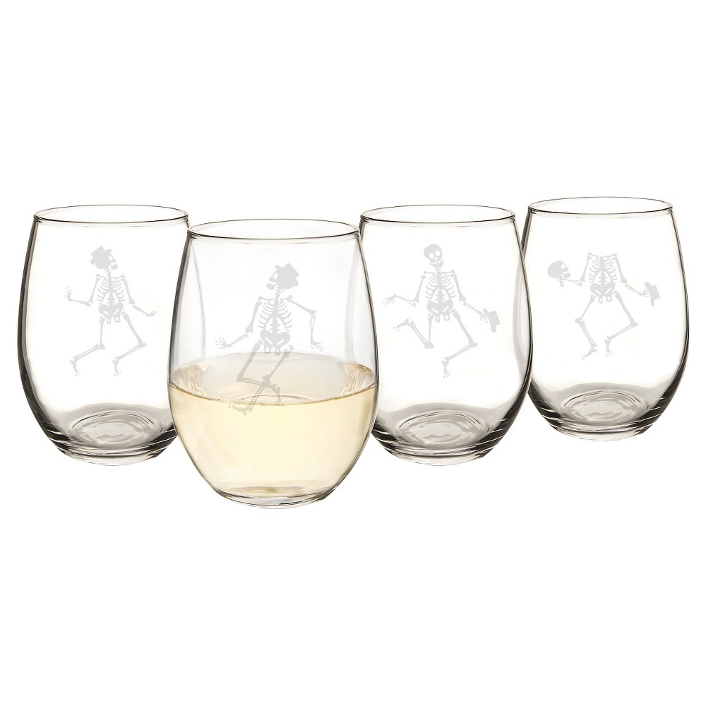 Halloween Skeleton Stemless Wine Glasses - 4ct, Clear