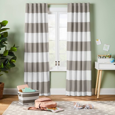 84 Blackout Rugby Stripe Panel Gray, Rugby Stripe Curtains