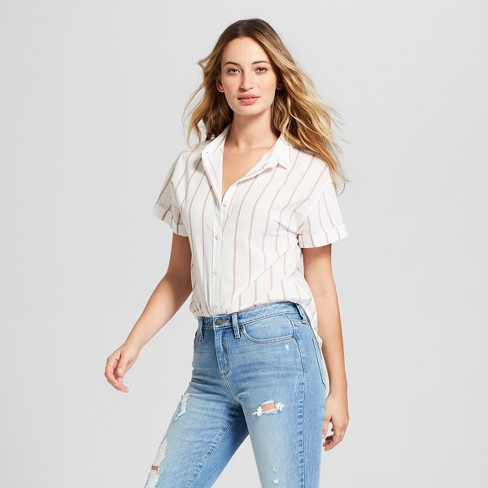 Women's Striped Short Sleeve Button-Down Shirt - Universal Thread™ Cream - image 1 of 3