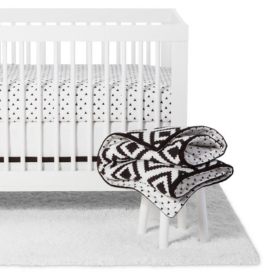 The Peanutshell Crib Bedding Set - Deco Diamond - 5pc - Black/White