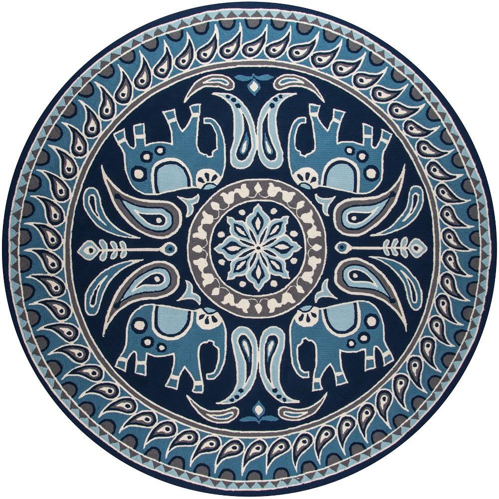 9'X9' Tribal Design Hooked Round Area Rug Indigo (Blue) - Momeni