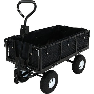 Sunnydaze Outdoor Lawn and Garden Heavy-Duty Steel Dump Cart with Removable Sides and Weather-Resistant Polyester Liner - Black