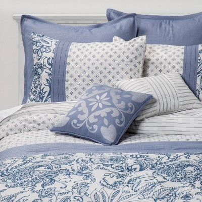 King 8pc Kaylin Comforter Set Indigo - Sunham Home Fashions