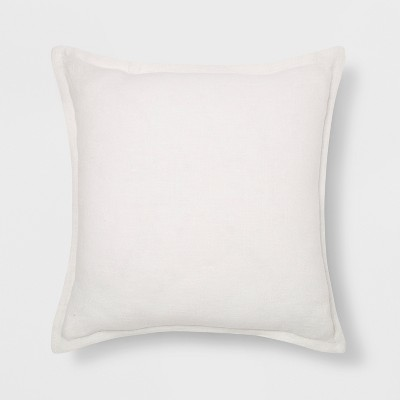 Washed Cotton/Linen Square Throw Pillow White - Threshold™