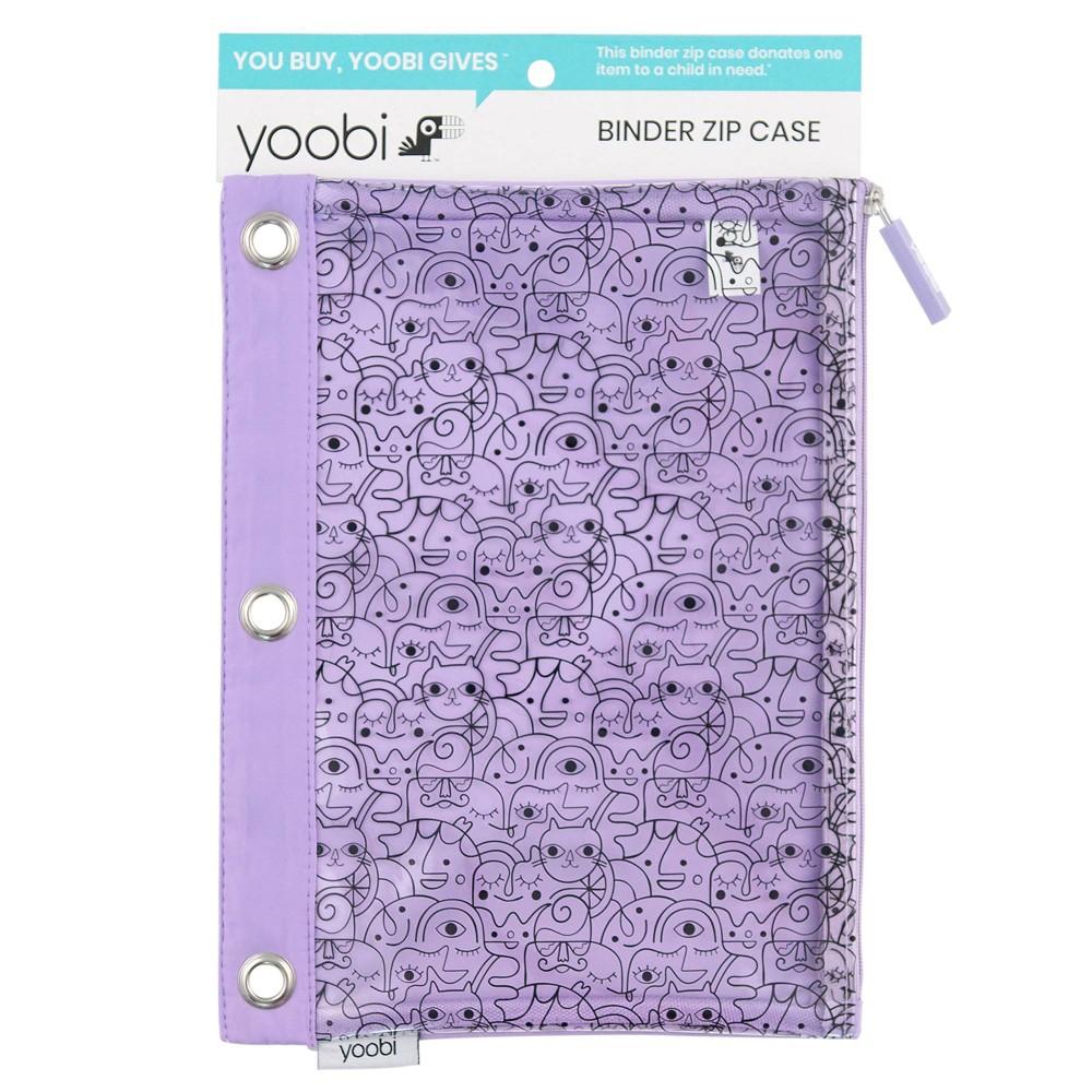 Binder Zip Pencil Case - Lavender Faces - Yoobi