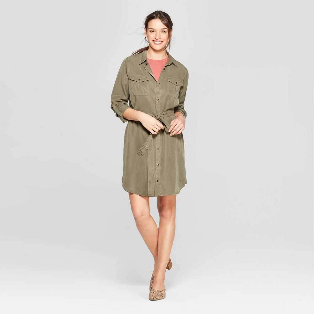 Women's Long Sleeve Collared At Knee Soft Twill Shirtdress - Universal Thread Olive (Green) L