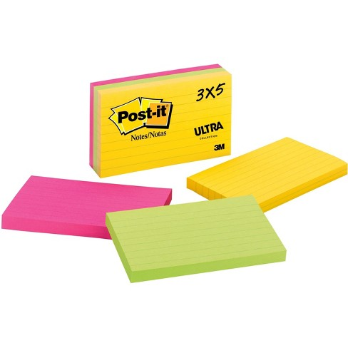 Post It Notes Lined 3 X 5 Green Pink Yellow Target