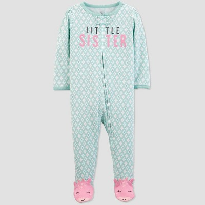 Baby Girls'  Little Sister  Sleep 'N Play One Piece Pajama - Just One You® made by carter's Green/White 3M